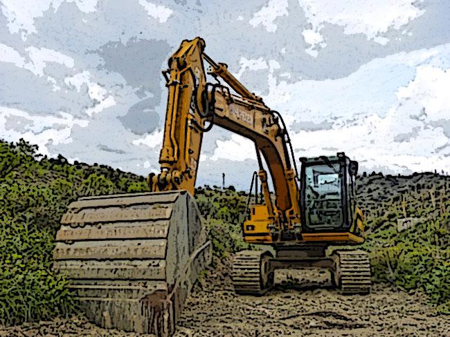 Un mezzo pesante attrezzato per scavare il terreno