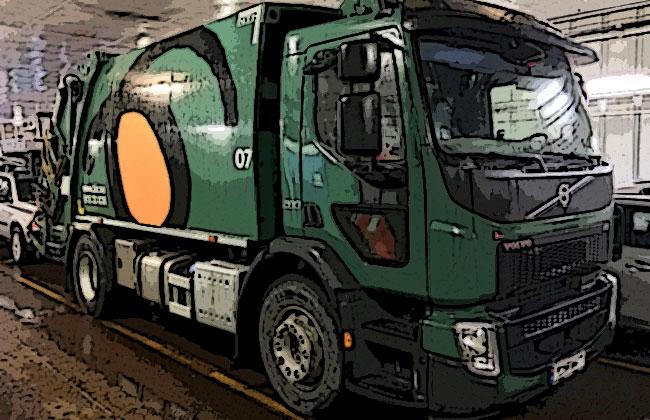 Un mezzo per il trasporto di rifiuti