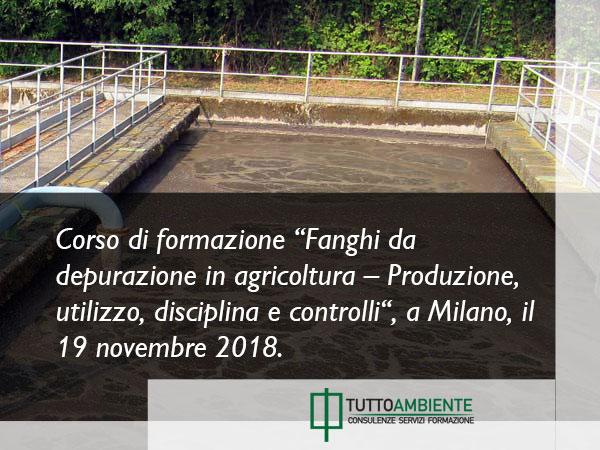 Corso fanghi di depurazione Milano 2018