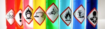 Aligned Chemical Danger pictograms – Explosive