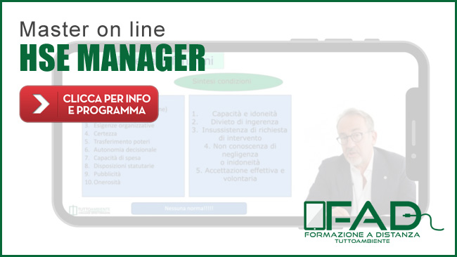 Master on line (modalità e-Learning) HSE MANAGER