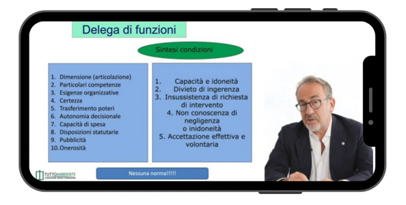 Uno screenshot del corso Master On Line HSE Manager (modalità e-Learning)