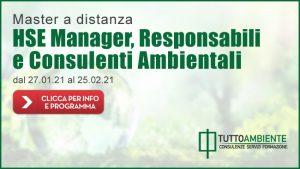 Master a distanza gennaio 2021 per HSE Manager Responsabili e Consulenti Ambientala