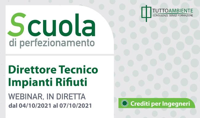 Scuola di perfezionamento DIRETTORE TECNICO dal 04/10/21 al 07/10/21