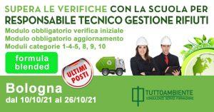 Scuola per Responsabile Tecnico Gestione Rifiuti a Bologna ottobre 2021